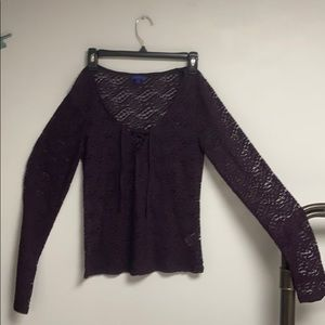 Aeropostale Burgundy pullover lace top L or M